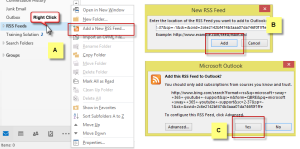 Outlook add RSS Feeds