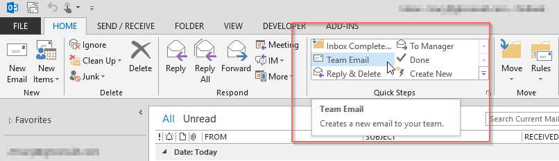 Day 152 Quick Steps in Outlook – Team Email – Tracy van der