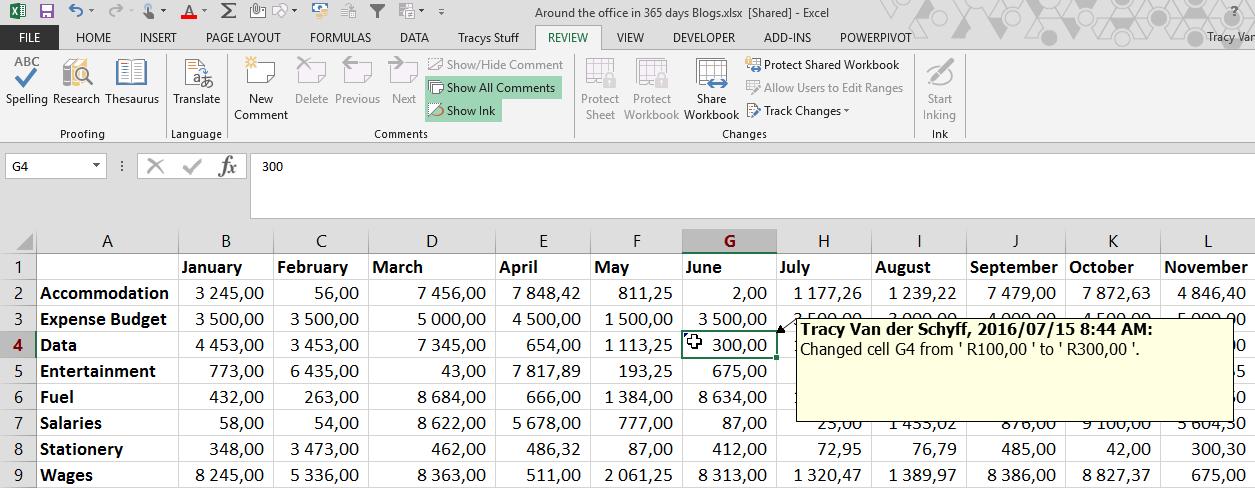 Day 136 Track Changes in Excel – Tracy van der Schyff