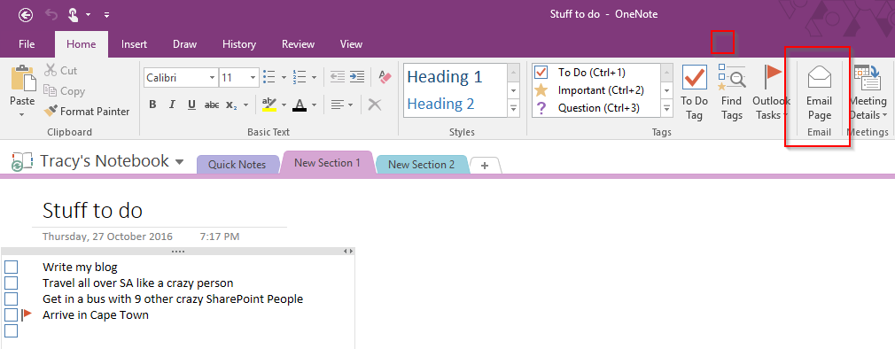 how to open outlook emails in onenote