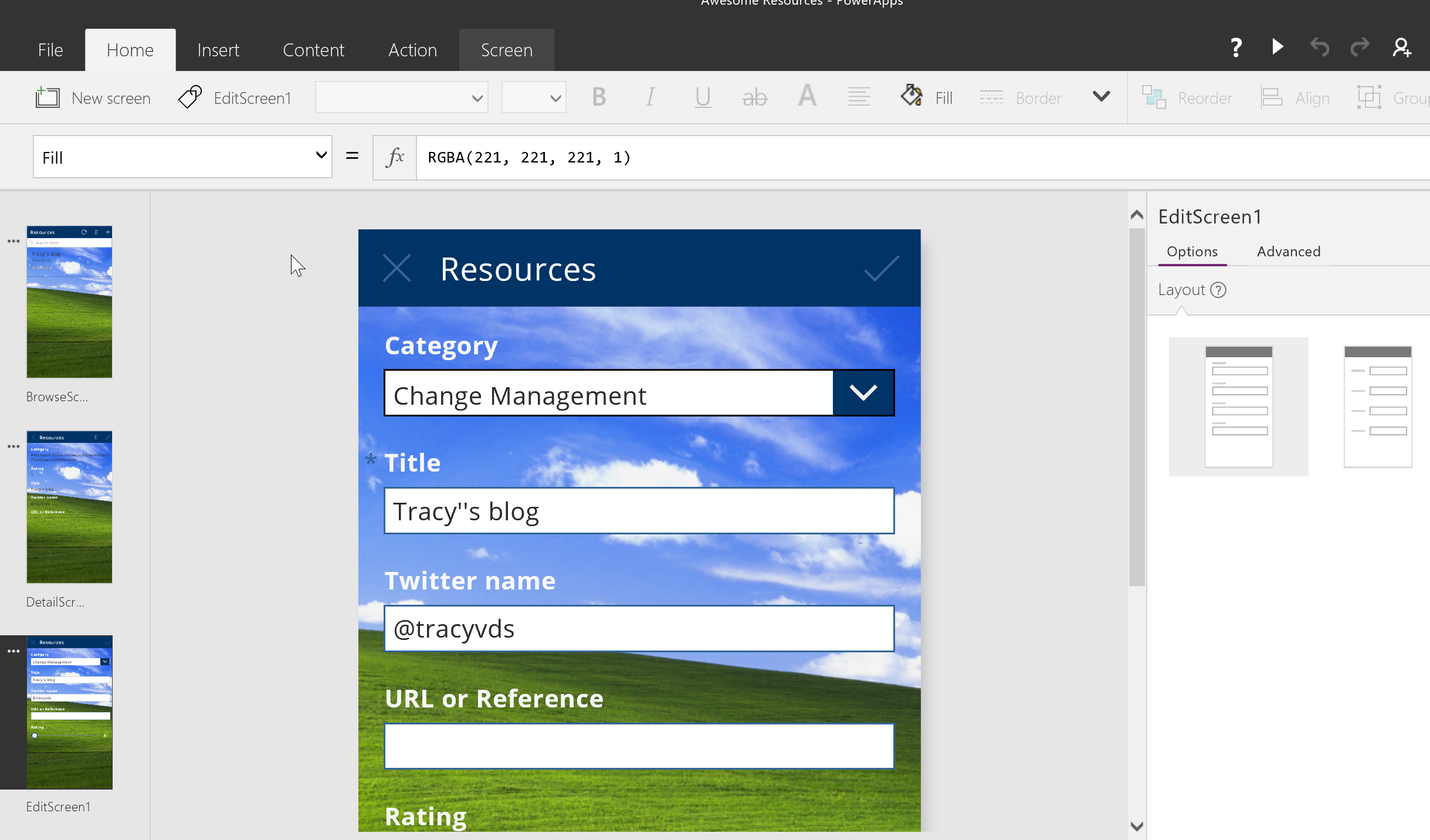day 263  u2013 powerapps  different layouts on screens  u2013 tracy
