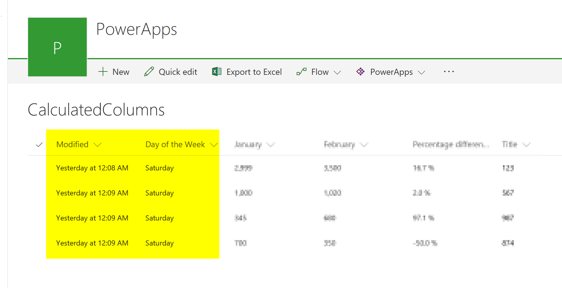 Powerapps Weekday