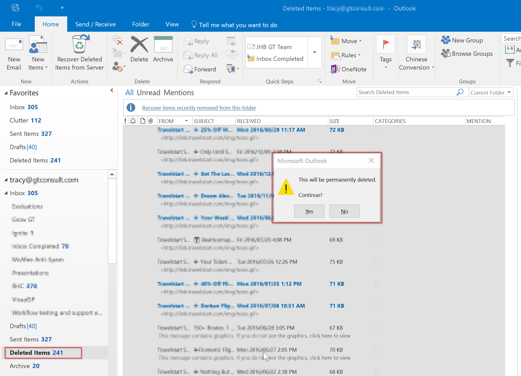 how to permanently delete recover deleted items in outlook 2017
