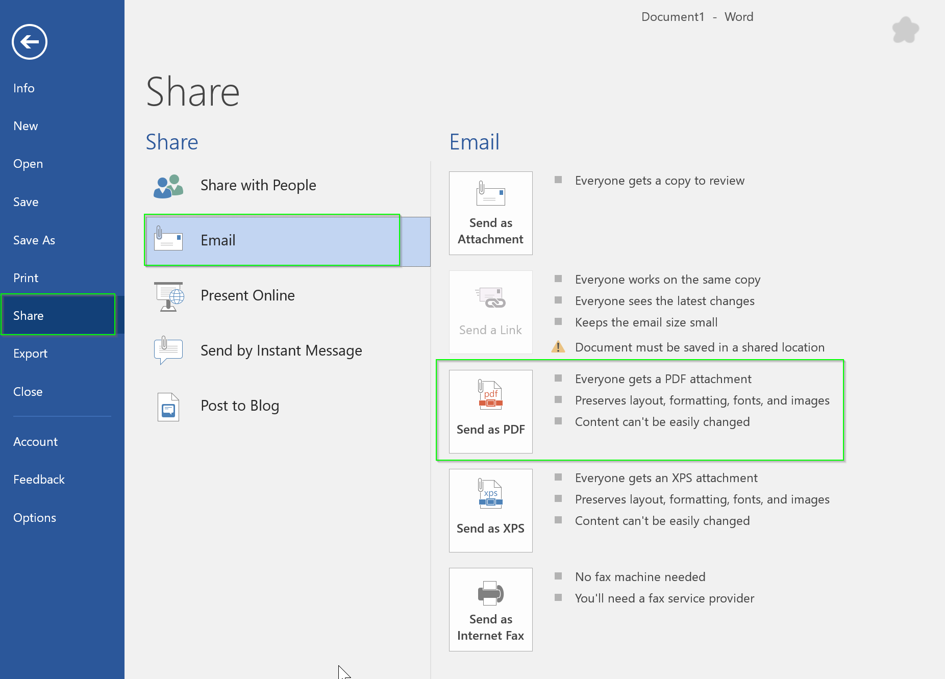 Day 322 – Share a copy or PDF your document by email in Microsoft