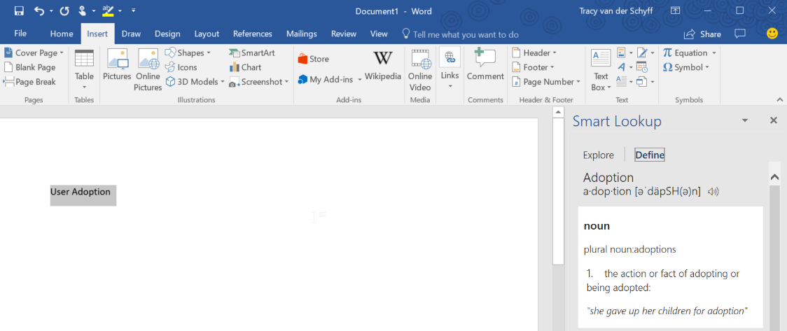 how to use smart lookup word