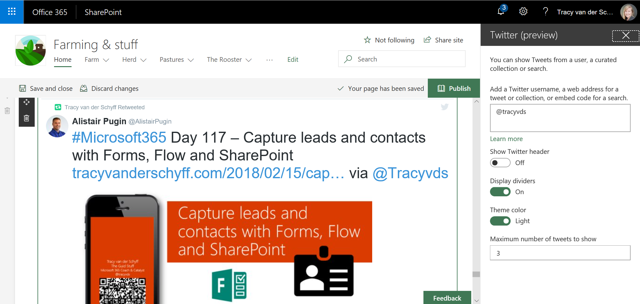 Microsoft365 Day 120: SharePoint Online Twitter Web Part is