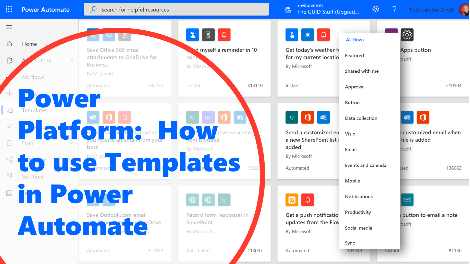 Power Platform: How to use Templates in Power Automate Tracy van der Schyff